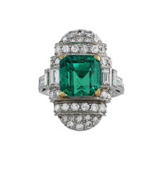 5ct Emerald Diamond Vintage Ring