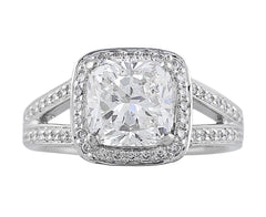 2ct Cushion Cut Riviera Diamond Ring