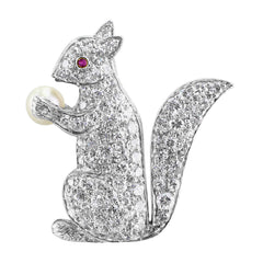 1960s Estate Diamond Platinum Squirrel Pin