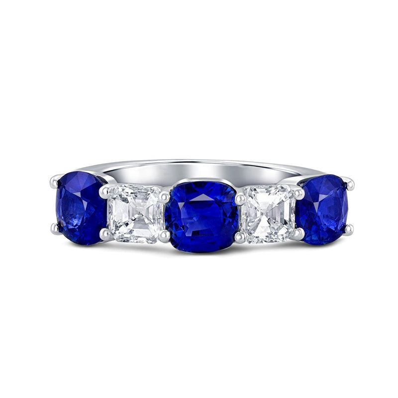 Sapphire and Diamond Platinum Half Band