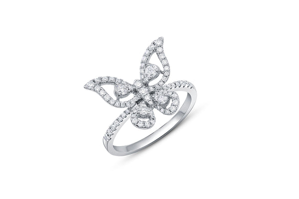 18kt White Gold Diamond Butterfly Ring