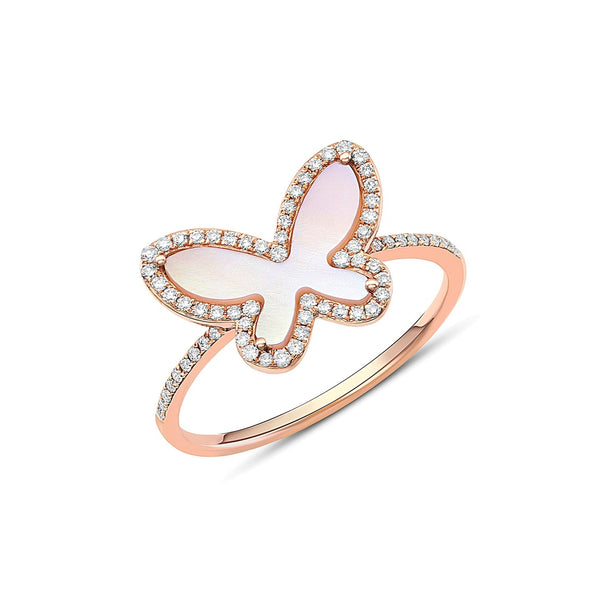 18kt Rose Gold Pink Mother-of-Pearl Butterfly Ring.