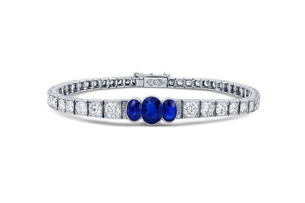 1920's Oval Sapphire and Diamond Bracelet