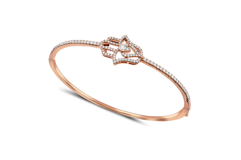 18kt Rose Gold Diamond Hamsa Bangle