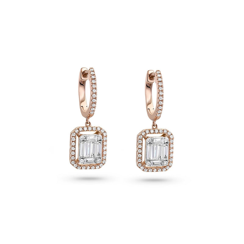 18kt Rose Gold Diamond Dangle Earrings