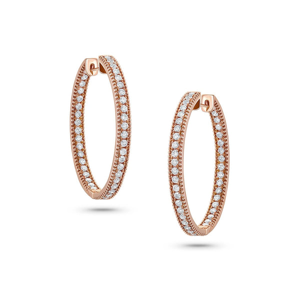 18 kt Rose Gold Diamond Hoop Earrings