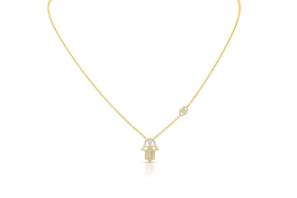 18kt Yellow Gold Diamond Hamsa Necklace