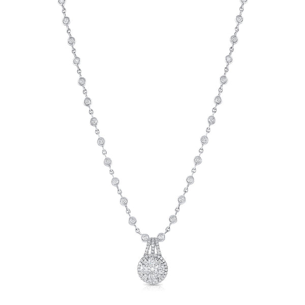 18k White Gold Diamond Station Pendant Necklace