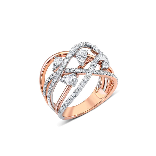 14 kt Rose Gold Diamond Lace Ring