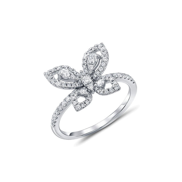 18kt White Gold Butterfly Diamond Ring
