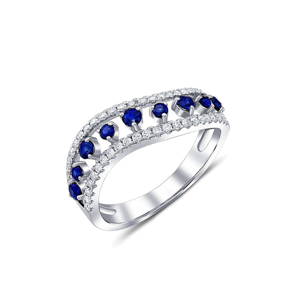 18 kt White Gold Sapphire and Diamond Wave Band