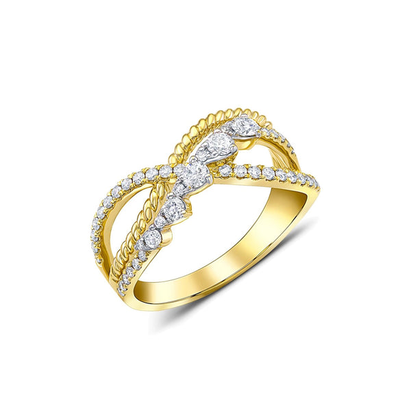 18 kt Yellow Gold Diamond Lace Ring