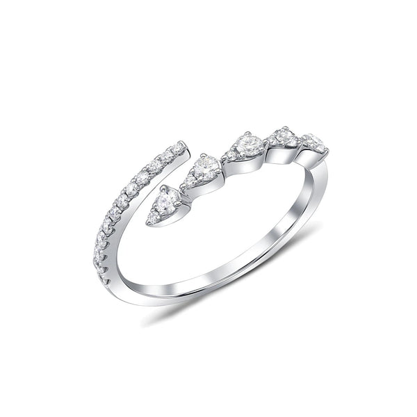 18 kt White Gold Diamond Bypass Ring