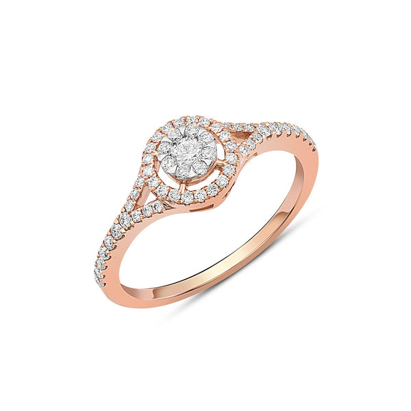 118kt Rose Gold Diamond Cluster Halo Ring