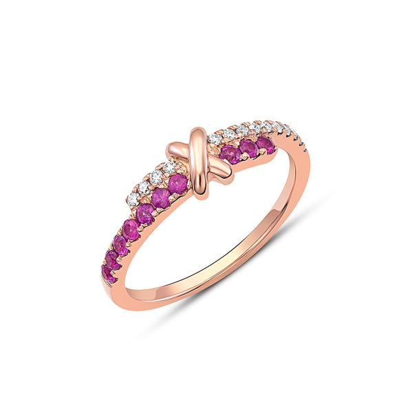 18kt Rose Gold Diamond & Pink Sapphire Crossover Ring