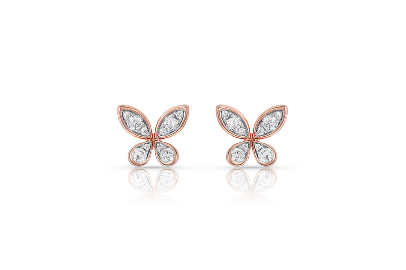 18kt Rose Gold Diamond Butterfly Stud Earrings