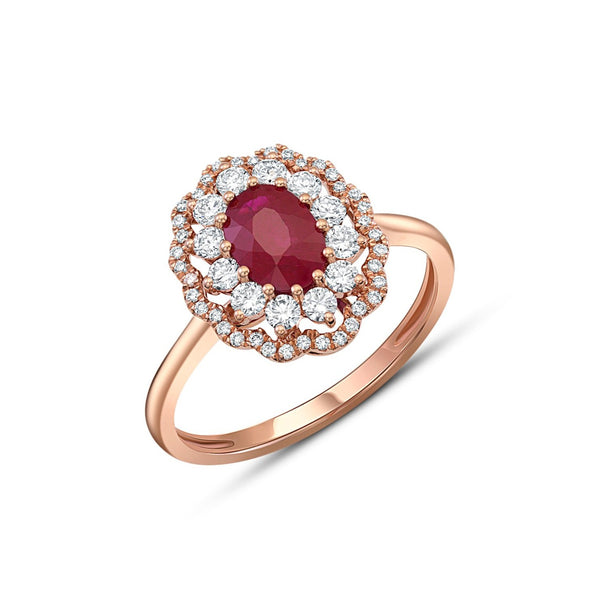 18kt Rose Gold Ruby and Diamond Halo Ring