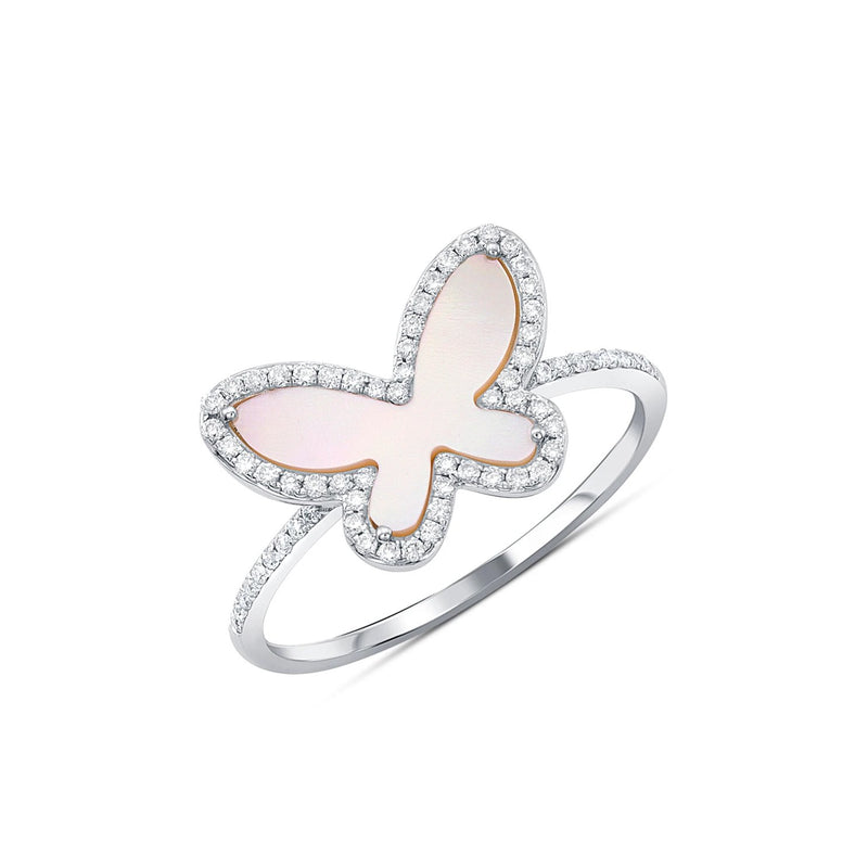 18kt White Gold Pink Mother-of-Pearl Butterfly Ring