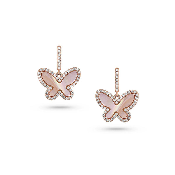 18kt Rose Gold Pink Mother-of-Pearl Butterfly