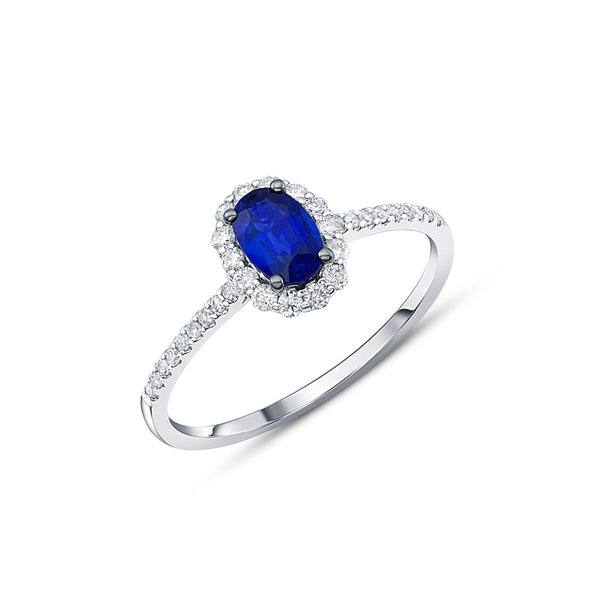 14kt White Gold Oval Sapphire Halo Ring