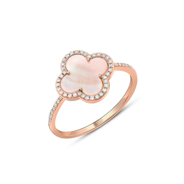 18kt Rose Gold Quatrefoil Pink Mother-of-Pearl Diamond Ring