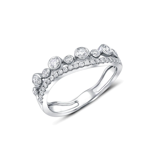 18 kt White Gold Curved Double Row Diamond Half Band