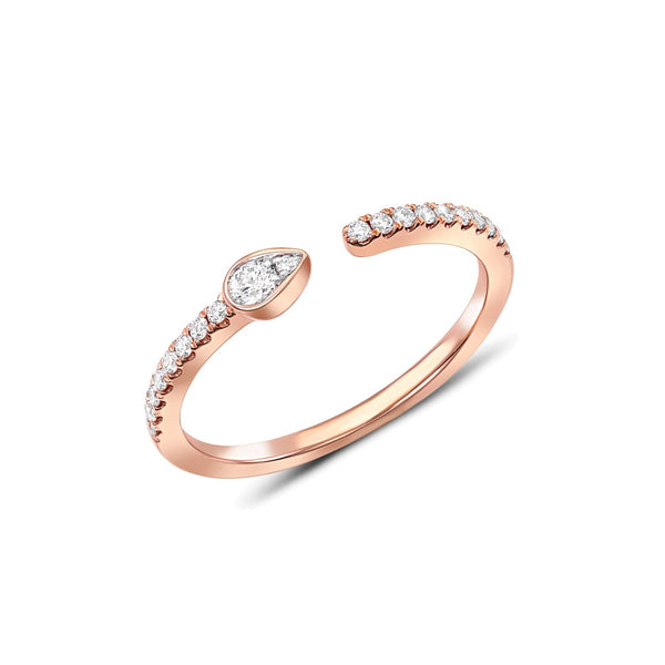 18 kt Rose Gold Diamond Open Gap Band