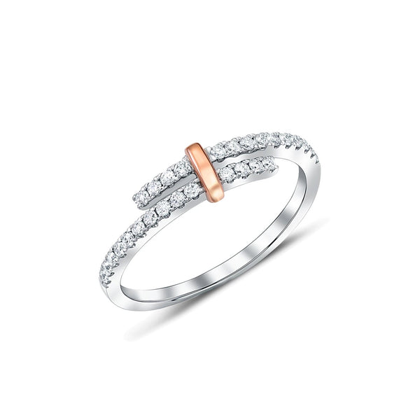 18kt White Gold Diamond Bypass Half Band