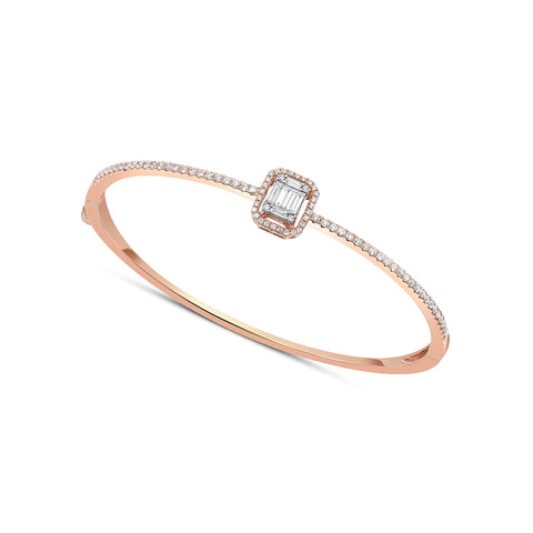 18 kt Rose Gold Baguette Diamond Bangle