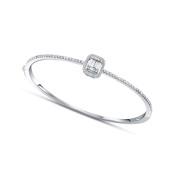 18 kt White Gold Baguette Diamond Bangle