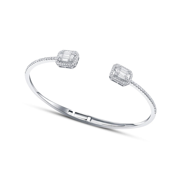 18 kt White Gold Baguette Diamond Open Bangle