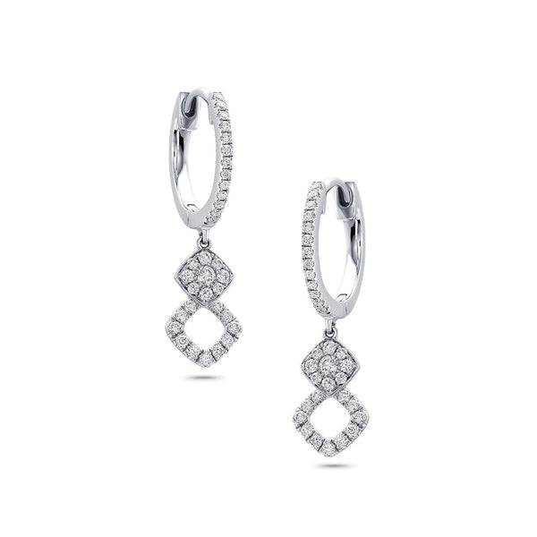 18 kt White Gold Diamond Dangle Earrings