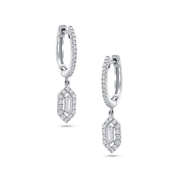 18 kt White Gold Diamond Hexagon Dangle Earrings