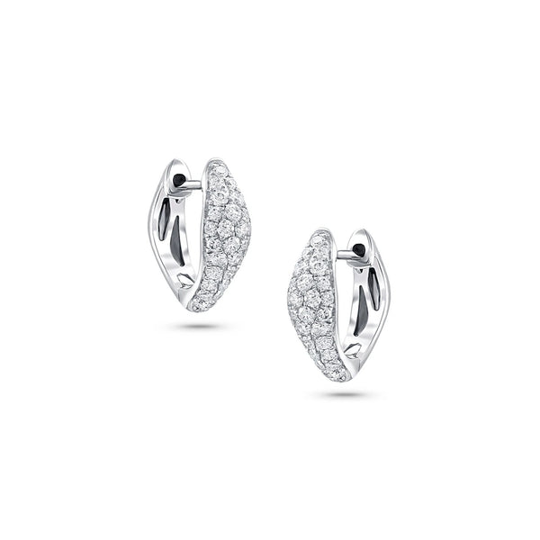 18 kt White Gold Diamond Huggie Earrings