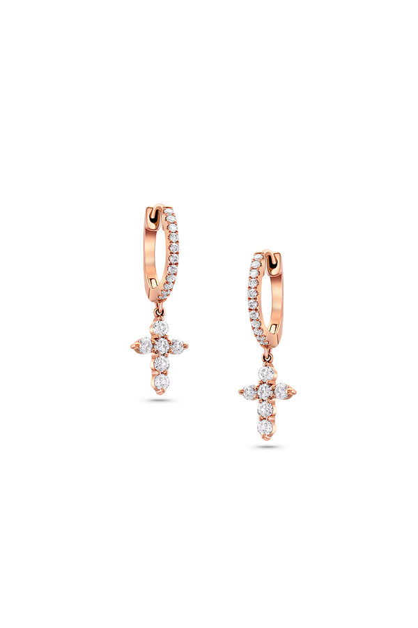 18 kt Rose Gold Diamond Cross Huggie Earrings