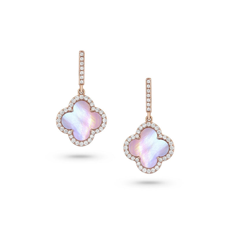 18kt Rose Gold Quatrefoil Mother-of-Pearl Diamond Earrings