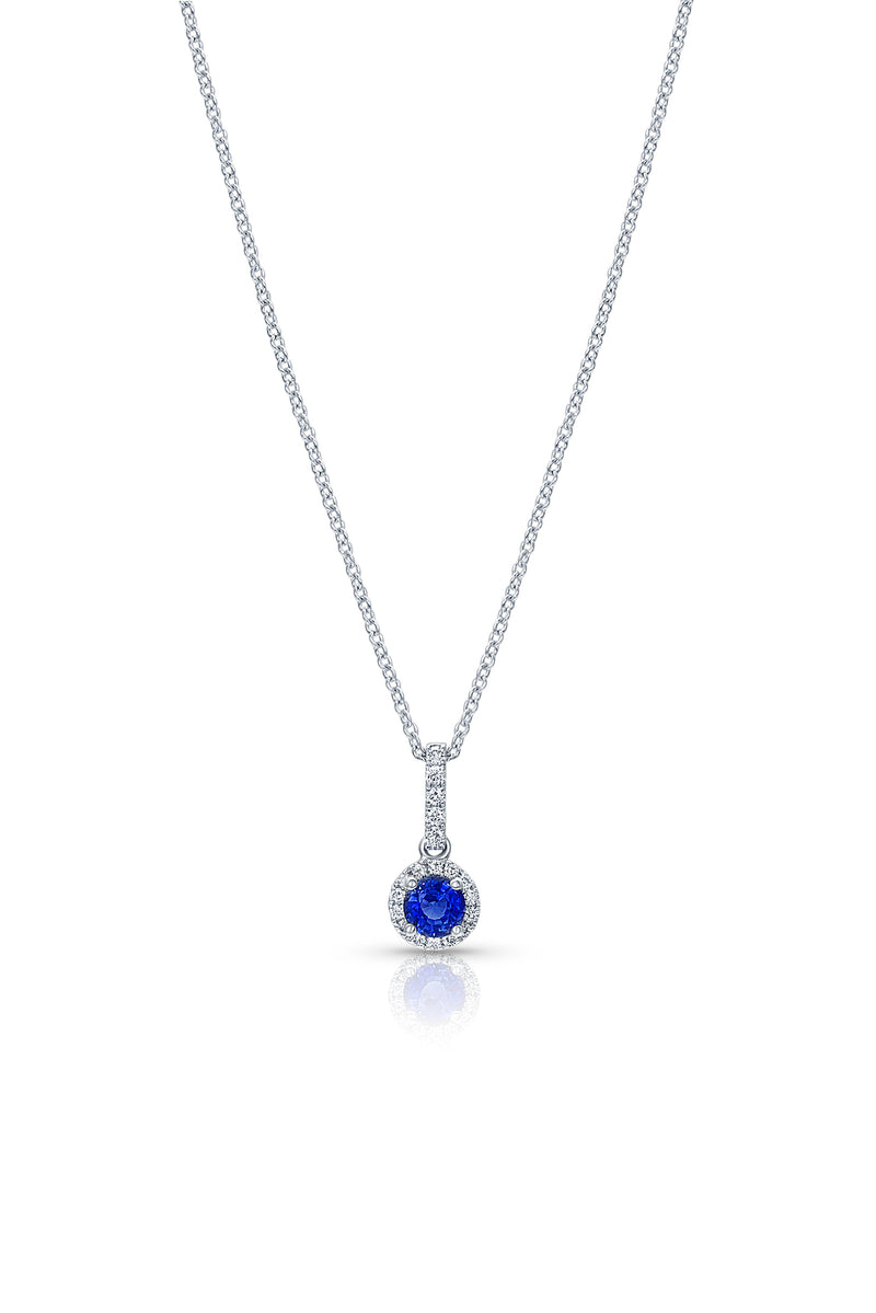 Round Brilliant Diamond Sapphire Pendant Necklace