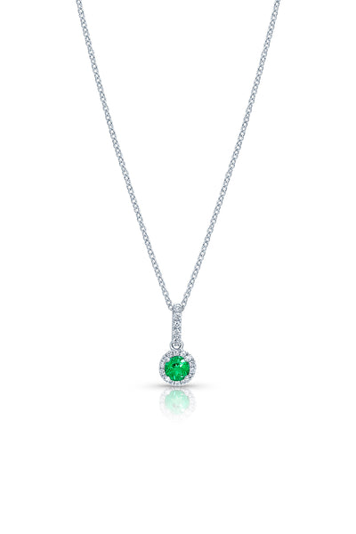 Round Brilliant Emerald Pendant