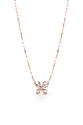 18 kt Rose Gold Diamond Butterfly Necklace