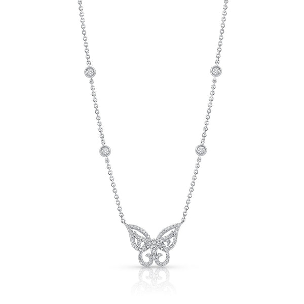18 kt White Gold Diamond Butterfly Necklace
