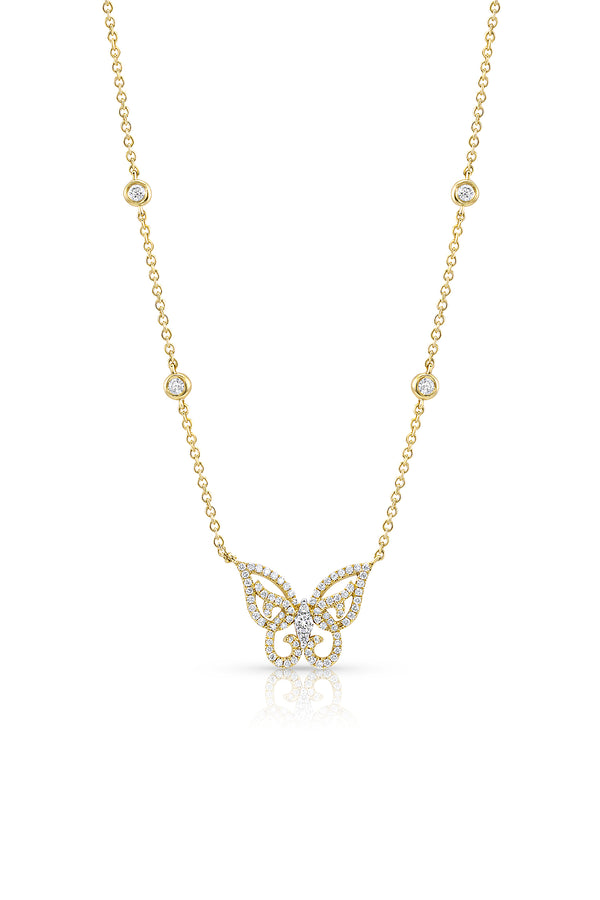 18 kt Yellow Gold Diamond Butterfly Necklace