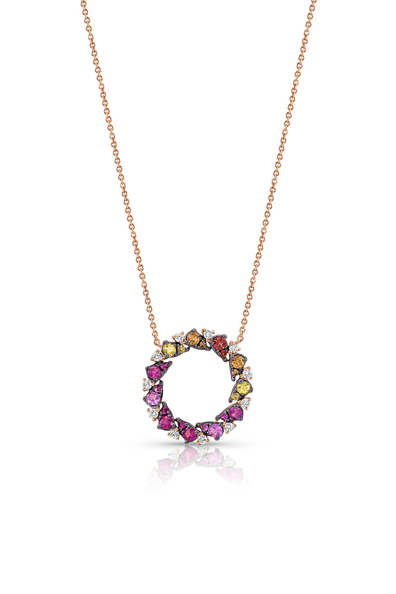 "14kt Rose Gold ""Rainbow"" Circle Necklace"