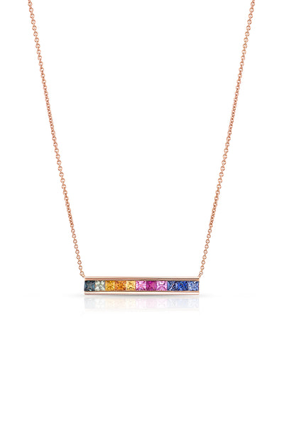 18kt Rose Gold Rainbow Bar Necklace