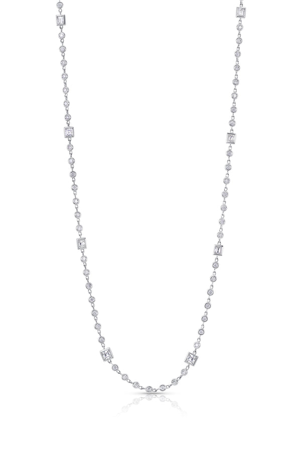 18 kt White Gold Diamond Long Strand Necklace