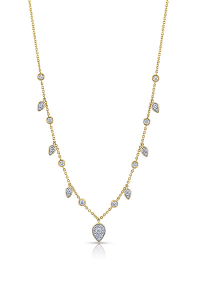 18 kt Yellow Gold Leaf Motif Diamond Dangle Necklace