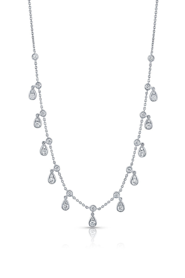 18 kt White Gold Pear Motif Diamond Necklace
