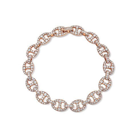 18 kt Rose Gold Diamond Link Bracelet