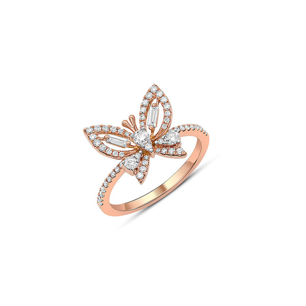18k Rose Gold 0.49ctw Diamond Butterfly Ring