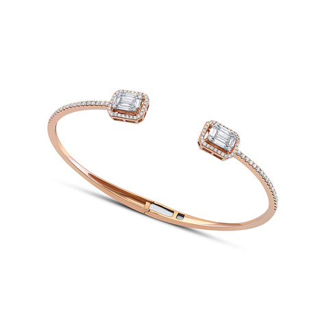 18 kt Rose Gold Baguette Diamond Open Bangle