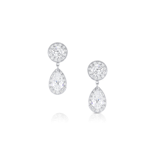 Platinum Round and Pear-Shaped Diamond Drop Earrings